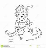 Coloring Cartoon Outline Playing Hockey Boy Winter Sports Preview Line sketch template