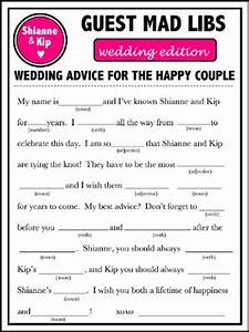 9 best images of blank printable wedding mad libs funny With guest libs wedding edition template
