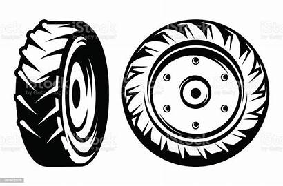 Tractor Vector Wheels Different Tire Kinds Clip