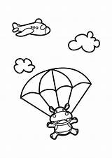 Skydiving Coloring Hippo Pages Nursery Cartoon Drawing Netart Snoopy Church Animals Indoor Applique sketch template