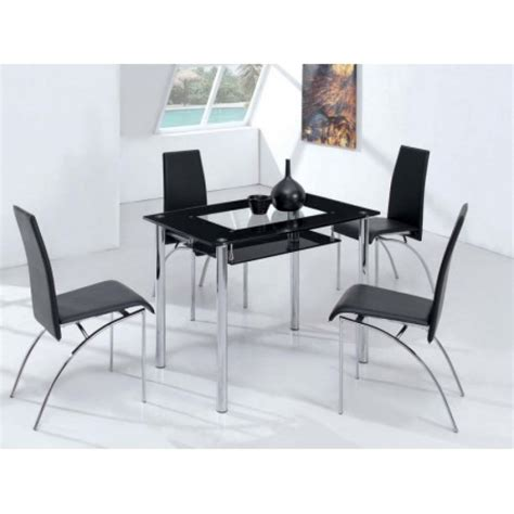 glass table with 4 chairs small compact glass dining table with 4 d211 chairs black