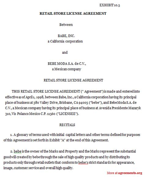 retail store license agreement sample retail store