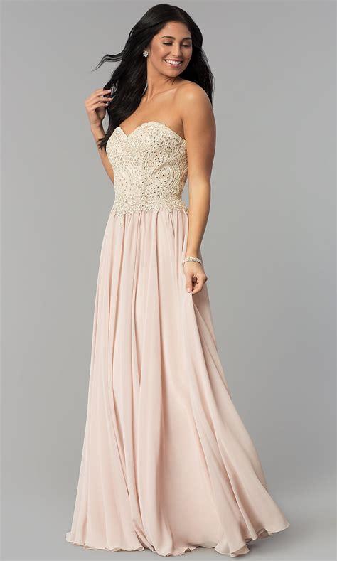 Long Strapless Chiffon Formal Dress with Corset
