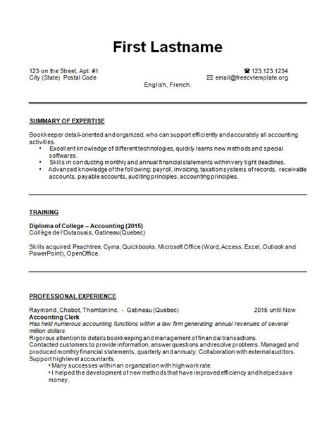 cv bookkeeper resume exle and sle free cv template