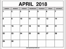 Free 5+ April 2018 Calendar Printable Template Source