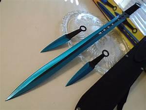 Blue Fury Titanium Dual Edge Sword Throwing Knife Kunai 3 ...