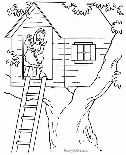 Coloring Pages Printable Tree Houses Farm Chores