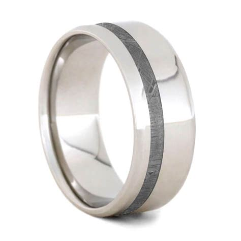 gibeon meteorite wedding band platinum ring for jewelry by johan
