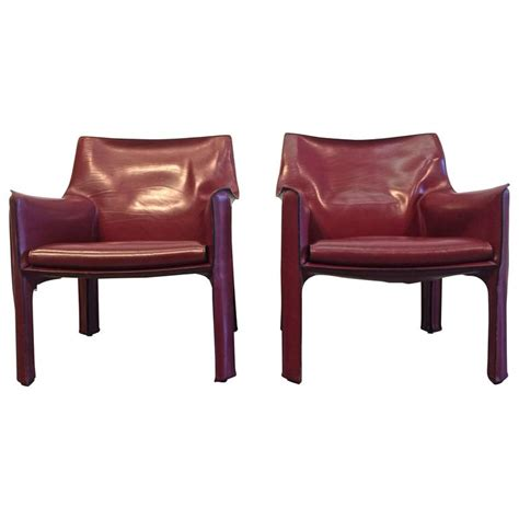 pair of cab lounge chairs by mario bellini for cassina at