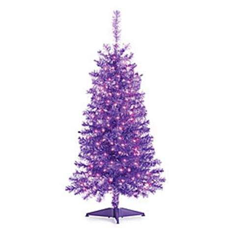 4 pre lit artificial purple christmas tree with purple