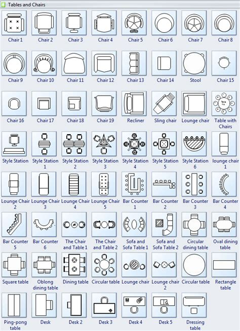 symbols  floor plan tables  chairs