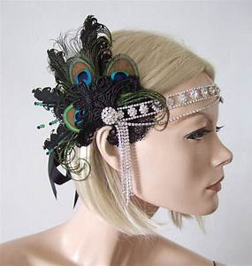 Peacock Feathers Lace Crystal Flapper 192039s Art Deco