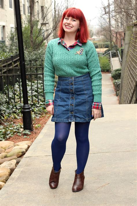 Outfit Seafoam Cable Knit Sweater over a Flannel Top Denim Button Down Skirt and Blue Tights ...