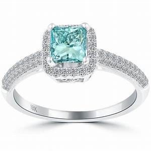 blue diamond princess cut engagement ring diamantbilds With princess diamond cut wedding rings