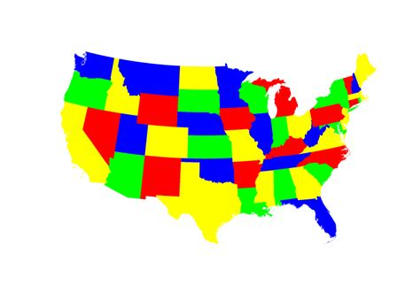 united states colors 4 color map of the contiguous united states which is