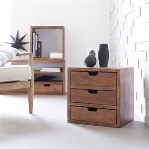 Cube En Bois Rangement : module rangement cube meuble avec 3 tiroirs en palissandre ~ Edinachiropracticcenter.com Idées de Décoration