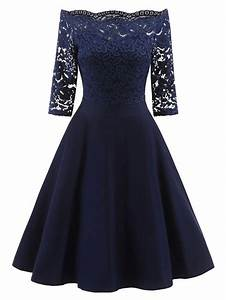 2018 lace off the shoulder vintage flare dress blue m in With robe de cocktail combiné avec black oak bracelet