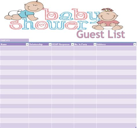 17 free baby shower guest list templates ms office