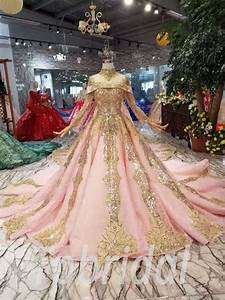 Pink And Gold Wedding Dress Lace Long Sleeve With Train