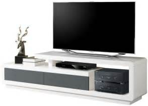 meuble tv laqu 233 blanc et gris pas cher comforium
