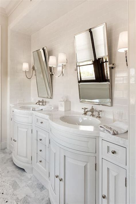 beautiful bathroom  built  light gray bow front