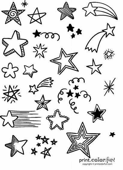 Stars Lots Coloring Things Printable Fun Sky