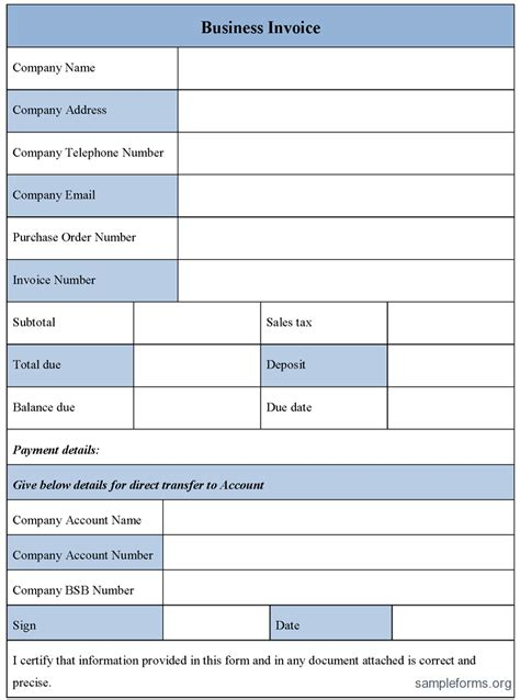 business invoice form sample forms