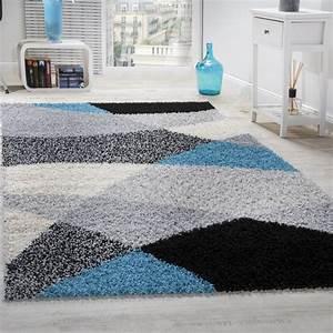 Teppich Langflor Grau : shaggy geometrisch gemustert grau t rkis hochflor teppiche ~ Orissabook.com Haus und Dekorationen