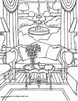 Coloring Pages Interior Adults Adult Sheets Colouring Printable Point Living Perspective Rooms Gonsowski Fred Interiors Books Drawing Getcolorings Drawings Cool sketch template