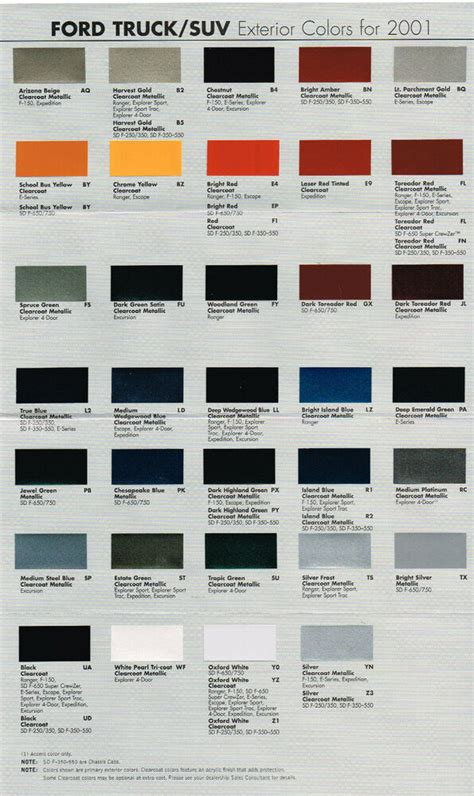 2001 ford truck color chart chip paint sle brochure