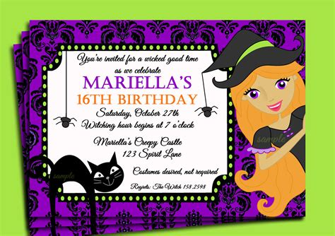 Free Halloween Invitation Templates halloween invitation printable or printed with free shipping