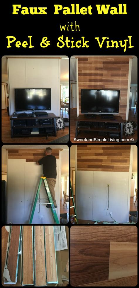 faux pallet wall faux pallet walls using adhesive vinyl sweet and simple living