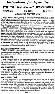 Copy Of Lionel Tw Transformer Instructions And Service And