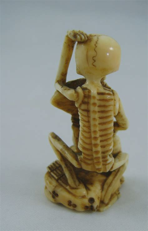 antiques atlas japanese carved ivory okimono skeleton