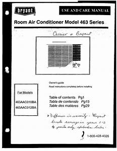 Bryant 463aac010ba Air Conditioner User Manual
