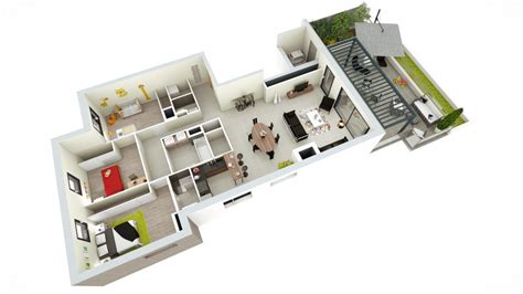 appartement 4 chambres plan maison 4 chambres 130m2
