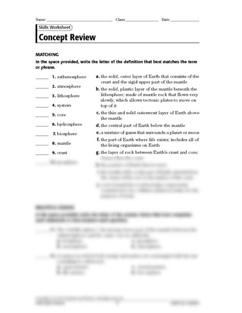what is earth science worksheet answers the