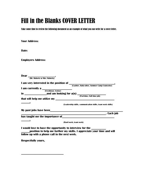 Fill In The Blank Cover Letter by Cover Letter Template Fill In Boatjeremyeatonco Qualads