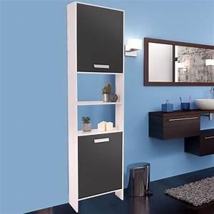 Meuble Salle De Bain Bois Et Blanc : meuble colonne salle de bain design en bois blanc portes grises me ~ Teatrodelosmanantiales.com Idées de Décoration