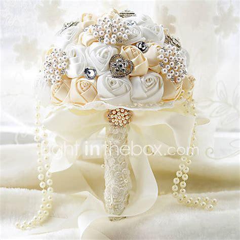 cream  white wedding bouquet bridal silk holder flower