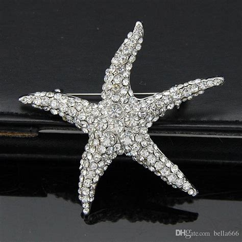 2020 Lovely White Crystal Starfish Brooch Lady Party
