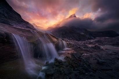 Sunrise Waterfall Mountain Alaska Clouds Exposure Landscape