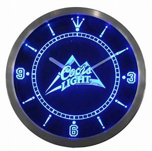 x Coors Light Beer Bar Man Cave Neon Sign LED Clock He