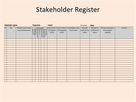 stakeholder register template msp stakeholder management the stakeholder register henny portman s