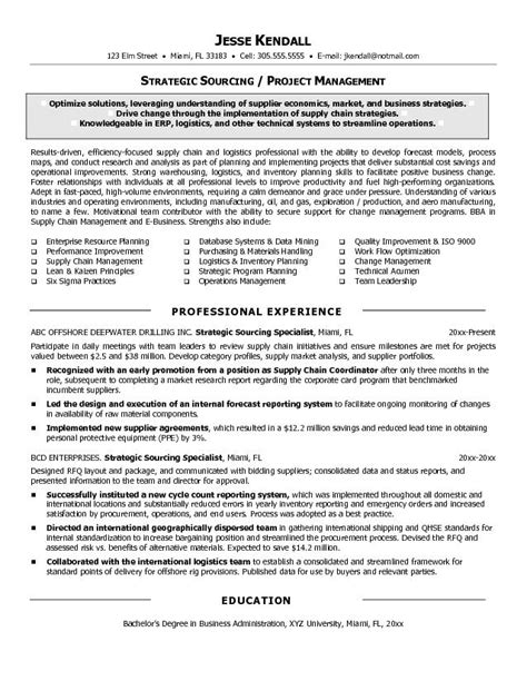 procurement resume format resume exles procurement