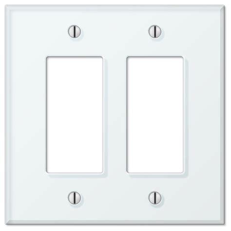 glass tile white acrylic 2 rocker wall plate