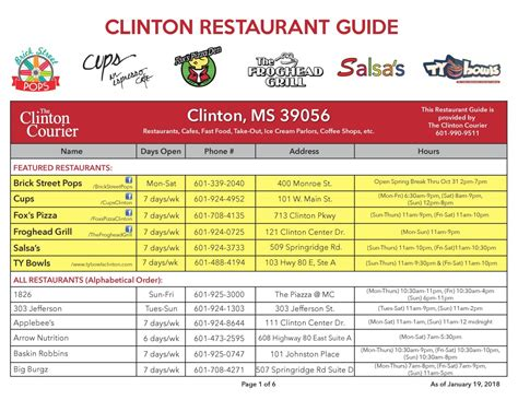 resto bureau clinton restaurants the clinton courier