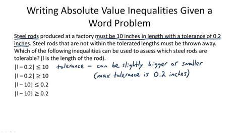 absolute value inequalities word problems worksheet