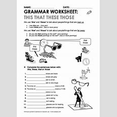 This That These Those Grammar Worksheet  English  Pinterest  Grammar, Worksheets And