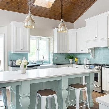 Blue Kitchen Island With Tapered Legs  Transitional  Kitchen